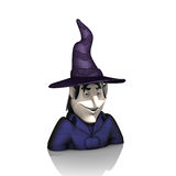 Witch with hat on white background Royalty Free Stock Image