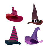 Witch hats with straps and buckles set. Vector illustration isolated on white background. Witch hats with straps and buckles set. Vector illustration isolated Stock Images