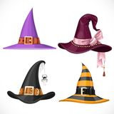 Witch hats with straps and buckles set Stock Images