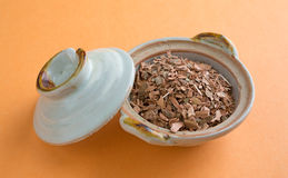 Witch hazel bark in small bowl with lid Stock Photography