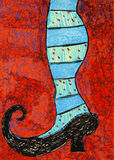 Witch Heel. Whimsical illustration of a black witch shoe and striped stockings Royalty Free Stock Photos