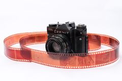 Old Soviet Zenit TTL 35 mm film camera isolated on white. Witch Helios 44-2 lens Stock Photography
