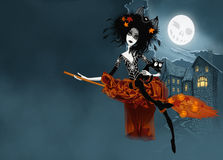 Witch  on her broom Stock Photo
