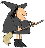 Witch And Her Broom Royalty Free Stock Photography