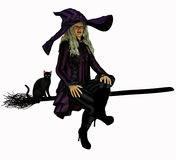 Witch on her broomstick Stock Photo