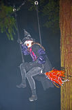 Witch on her broomstick. At Ness Islands Inverness in a Halloween event organized by Highland Council on 26th and 27th October 2012 Stock Image