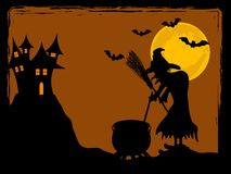 The witch and her castle Royalty Free Stock Images