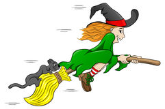 Witch and her cat flying on a broom Stock Images