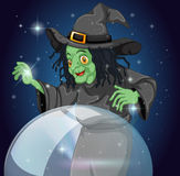 A witch and her crystal ball Royalty Free Stock Images