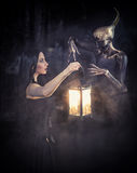 Witch and her familiar. Fantasy style portrait of two women in body art royalty free stock photography
