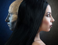 Witch and her familiar, profile portraits Stock Photo