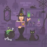 Witch in her house studying magic. Young sorceress casting spell royalty free illustration