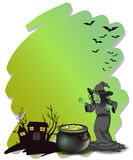 A witch and her magical pot at the cemetery Stock Photos