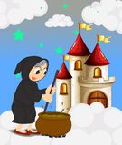 A witch and her magical pot near the castle Stock Photography