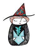Witch Herbologist. The little witch, studies her favorite subject, herbology Royalty Free Stock Photo