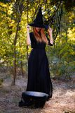 Witch hiding behind black hat. Mysterious ginger witch girl on a forest background. Halloween concept. stock images