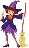 A witch holding a broom Stock Photography