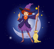 A witch holding a broom with a moon and stars at the back Royalty Free Stock Photography