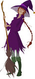 Witch Holding a Broom. Witch in a purple dress holding a broom Royalty Free Stock Photo
