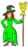 Witch holding a broom on white background Stock Photography