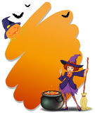 A witch holding a broomstick beside her magical pot Stock Images