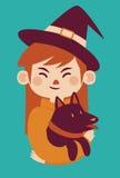Witch Holding Dog Stock Image