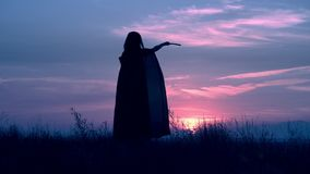 Sorceress in cloak at halloween posing outdoors. A witch holding magic wand conjures woman standing in a field looks at a blue sky with clouds stock footage