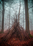Witch house in the forest with fog Stock Images