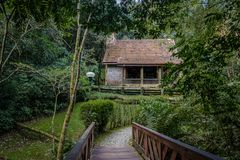 Witch house at Hensel and Gretel Trail Trilha Joao e Maria of Bosque Alemao German Forest Park - Curitiba, Parana, Brazil. Witch house at Hensel and Gretel Trail Royalty Free Stock Photos