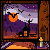 Witch house in the night. View of witch house in the night out the window. Perfect illustration for Halloween holiday Stock Image