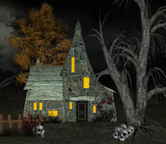 Witch house with skulls. Halloween illustration: witch house with skulls Royalty Free Stock Photo