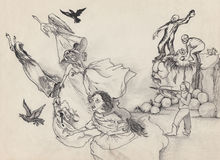 Witch hunt. Men attack witches. Hand drawing illustration. Stock Image