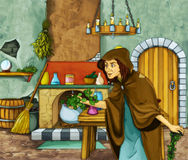 Witch and the hunter in old room Royalty Free Stock Images