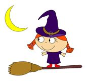 Witch. Illustration on the theme of magic and witchcraft, the red-haired witch with broom Stock Images