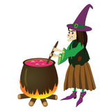 Witch isolated on white. Vector illustration of witch boiling poison in cauldron isolated on white Royalty Free Stock Images