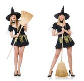 The witch isolated on the white background Stock Images