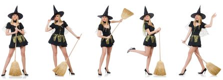 The witch isolated on the white background Royalty Free Stock Photography