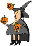 Witch juggling pumpkins. This illustration depicts a Halloween witch juggling three carved pumpkins Royalty Free Stock Photography