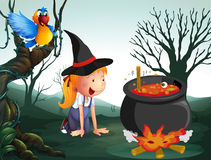 A witch in the jungle. Illustration of a witch in the jungle royalty free illustration