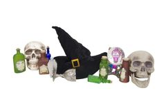 Witch Kit. Including traditional large pointed black hat, crystal ball and various potions with room for text - path included stock photos