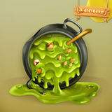 Witch Kitchen. Pot with a potion. Halloween vector icon. Witch Kitchen. Pot with a potion. Halloween 3d vector icon Royalty Free Stock Images