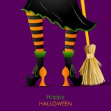 Witch Leg with Broomstick. Easy to edit vector illustration of witch leg with Broomstick in Halloween background vector illustration