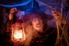 Witch With Lighted Lantern In Magic Fog Stock Photography