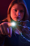 Witch with lightnig. Witch who casts lightning from his fingers Royalty Free Stock Image