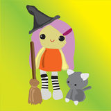 Witch little girl Royalty Free Stock Image