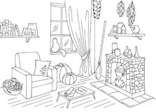 Witch living room graphic black white home interior sketch illustration vector stock illustration