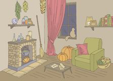 Witch living room graphic color home interior sketch illustration vector vector illustration