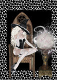 Witch and Looking Glass Background. As she is looking into the glass ball to see the future. She is sitting on a wooden chair and surrounded by a white web royalty free illustration