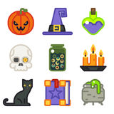 Witch magic halloween icons set  flat Stock Photography