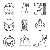 Witch magic halloween icons set isolated flat Royalty Free Stock Image